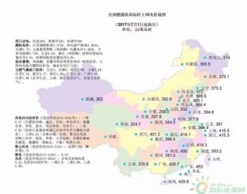 全国燃煤机组标杆上网电价地图