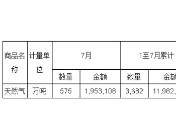 2017年7月<em>中国天然气</em>进口量统计表