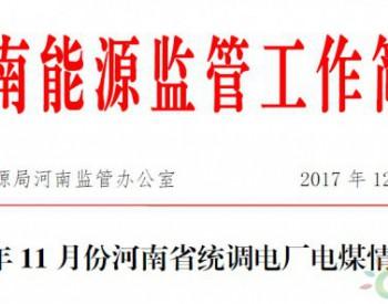 2017年11月份河南省统<em>调</em>电厂电煤情况通报