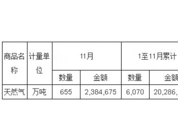 2017年11月<em>中国天然气</em>进口量统计表