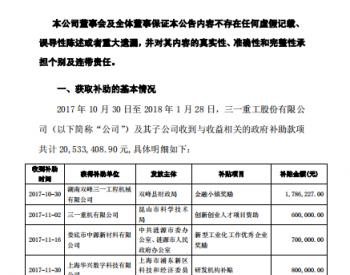 <em>三一重工</em>收到2053万元政府补贴