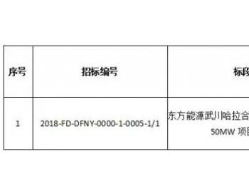 招标 | 国电投<em>东方能源</em>武川哈拉合少风电供暖一期50MW项目勘察设计招标