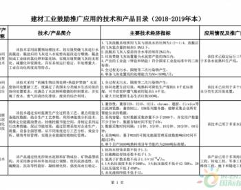 工信部组织编制建材工业鼓励推广应用的技术和产品目录(2018-2019年本)