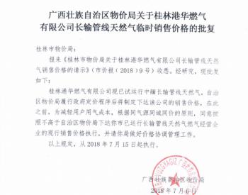 关于桂林<em>港华燃气</em>有限公司长输管线天然气临时销售价格批复的通知