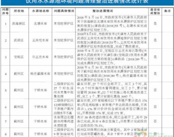 天津:8月饮用水<em>水源地</em>环境问题清理整治进展情况