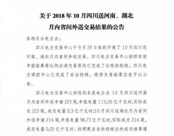 关于2018年10月四川送河南、湖北月内省间外送交易结果的公告