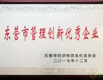 """大海新能源荣获东营市2017年度""""管理创新优秀企业""""荣誉称号"""