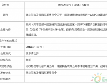 关于中国国储能源储运园区一期<em>LPG储罐</em>项目核准的批复