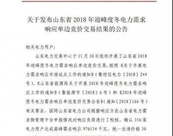 山东省2018年<em>迎峰度冬电力</em>需求响应单边竞价交易结果公布