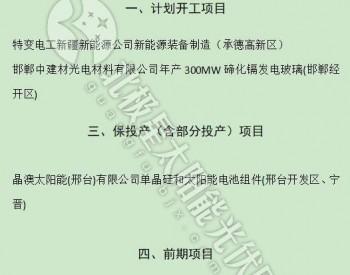 河北省2019年重点项目公示:5光伏项目入列