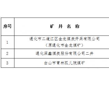通化市二道江区金龙<em>煤炭</em>开采有限公司等3处矿井予以关闭