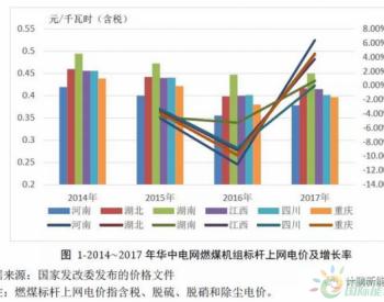 华中地区近年<em>燃煤标杆上网电价</em>和平均上网电价的变化
