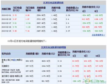 <em>东旭光电</em>3月01日深股通减持138.31万股