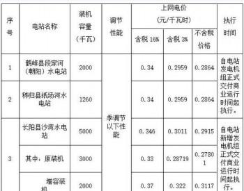 湖北省关于3座<em>水电站上网电价</em>的批复