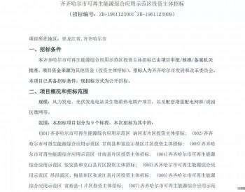 招标|3GW!黑龙江齐齐哈尔可再生能源示范区投资主体招标启动