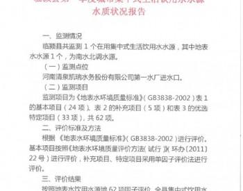 漯河市临颍县第一季度城市集中式<em>生活饮用水</em>水源水质状况报告