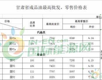 甘肃省:汽、柴油标准品价格每吨分别下调120元和115元