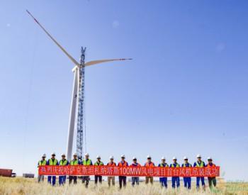 100MW!中亚区域最大风电工程首台<em>风电机组吊装</em>成功