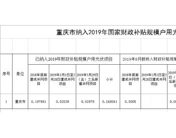 重庆市公布纳入2019年国家<em>财政补贴规模</em>的户用光伏项目,共计102.44千瓦