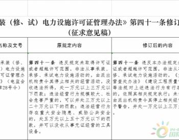 国家能源局关于对《承装(修、试)电力设施许可证管理办法》有关条款修订内容公开征求...