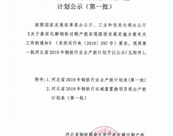 河北省公布2019年钢铁行业去产能计划(第一批)