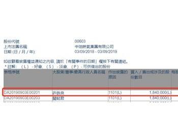 <em>中油燃气</em>获主席许铁良增持184万股