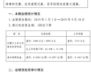 银星能源<em>2019</em>年前三季度净利润预计同比下降62.83%-73.45%