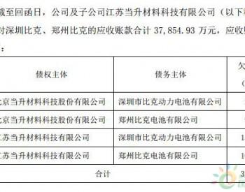 3.79亿元比克动力欠款或难收回 <em>当升科技</em>已申请财产保全