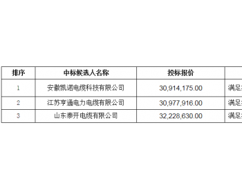 中标 | 中广核河南兰考中原100MW风电场<em>电缆设备采购</em>中标候选人公示