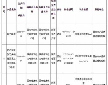 陕西电力电缆抽查:3批次样品不合格