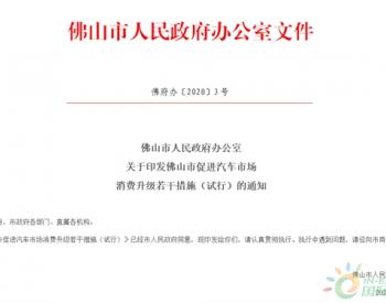 广东佛山推出新车消费政策:每辆车最高补贴5000元