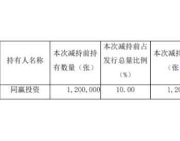 日月股份控股股东同赢投资<em>减持</em>其所持有的日月转债120万张