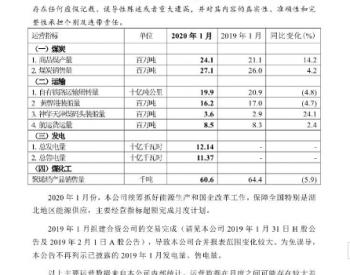 <em>中国神华</em>1月总发电量121.4亿千瓦时