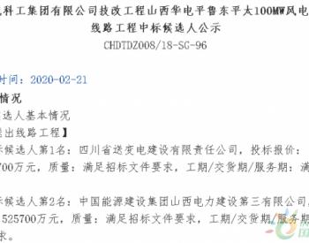 中标|山西<em>华电</em>平鲁东平太100MW风电项目送出线路工程中标结果公示