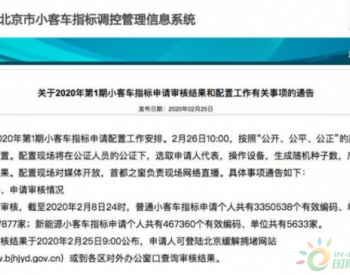 <em>北京</em>超46.7万人申请新能源指标 新申请者或将再排9年
