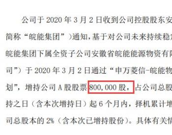 皖天然气控股股东下属全资子公司增持80万股 耗资约846万元