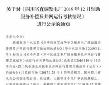 2019年12月四川直调风电、<em>光伏</em>发电厂并网运行<em>考核</em>情况