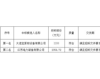 中标|<em>福建</em>漳州<em>核电</em>厂1、2号机组工程安全壳机械贯穿件设备采购中标候选人公示