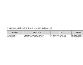 北京市市场监管局发布太阳能热水系统产品抽检结果