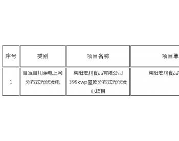 山东烟台:光伏发电项目平价上网确认公告 (2020年3月份第4批