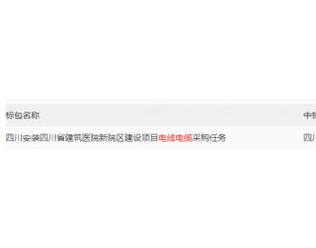 中标|四川省建筑医院新院区建设项目电线<em>电缆采购</em>中标公示