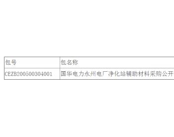 中标 | 国华电力湖南<em>永州电厂</em>净化站辅助材料采购公开招标中标结果公告