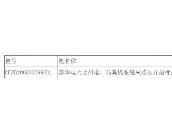 中标 | 国华电力湖南<em>永州电厂</em>仿真机系统采购公开招标招标公告中标结果公告