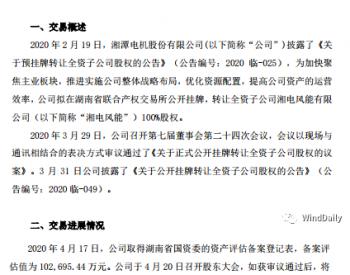 <em>湘电风能</em>转让最新进展!评估价不低于10.27亿元!