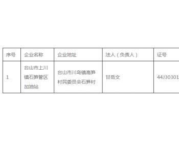 广东省江门市发展和改革局关于拟撤销成品油零售经营资格企业名单的公示
