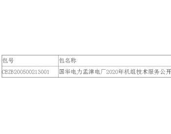 中标|国华电力河南<em>孟津电厂</em>2020年机组技术服务公开招标中标结果公告