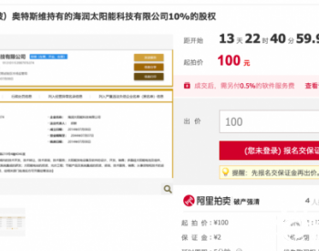 起拍價格僅100元!<em>海潤</em>太陽能科技10%股權第三次拍賣