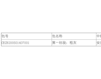 中标 | <em>神皖能源</em>安徽安庆电厂2020年粉煤灰销售公开招标中标结果公告