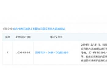 """中胜石油旗下一加油站因""""环保<em>设施</em>投用但未经验收""""被处罚"""