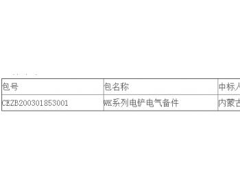 中标|准能集团物资供应中心2020年WK系列电铲电气备件采购中标结果公告
